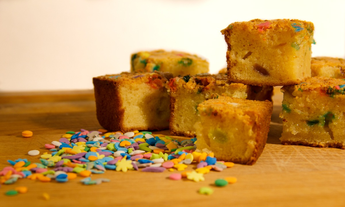 Finished Butter Mochi and Sprinkles